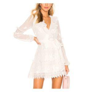 Tularosa Pixie Romantic Ruffle Lace Wrap Dress
